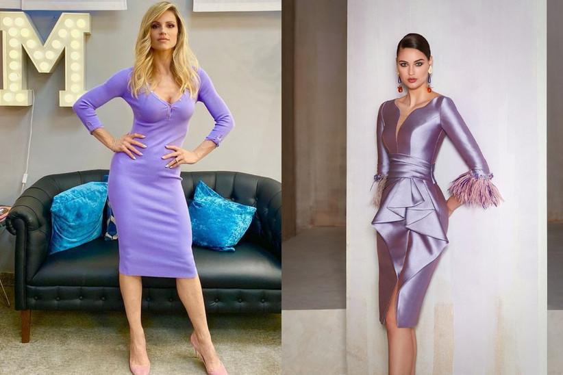 Michelle Hunziker con vestito lilla