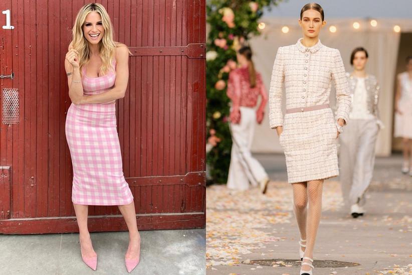 Michelle Hunziker in abito bianco e rosa