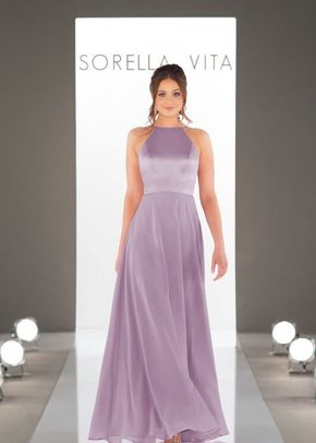 9146 Satin and Chiffon Halter Bridesmaid Dress by Sorella Vita, Sorella Vita