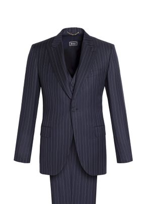 PINSTRIPED THREE-PIECE CONTINENTAL SUIT, Brioni