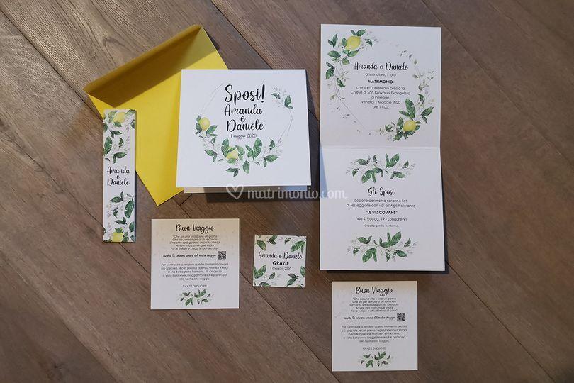 Invito tema fiori di limoni