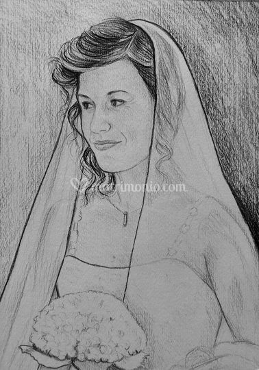 Ritratto sposa a matita