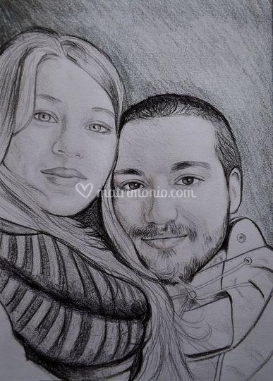 Ritratto coppia a matita
