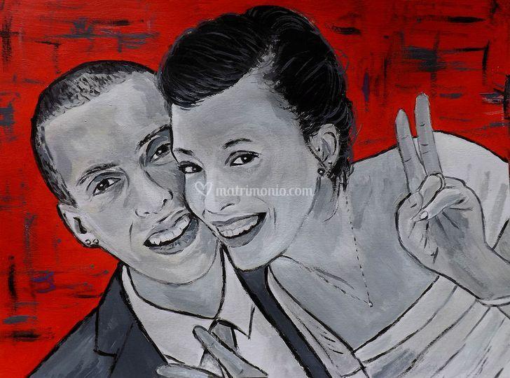 Ritratto sposi stile pop art