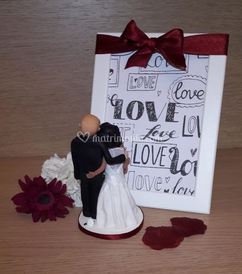 Cake Topper Sposi Bordeaux 2