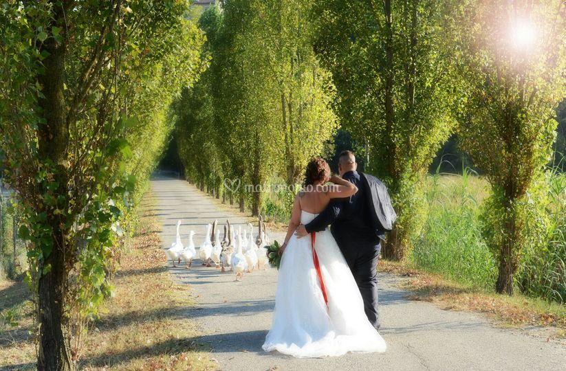 Sposi con picchetto d'onore