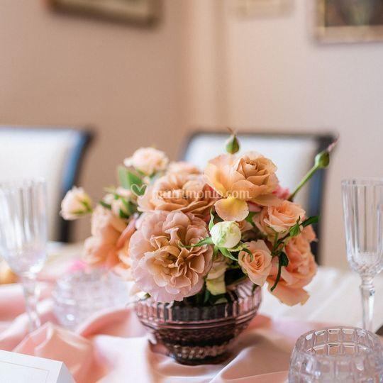 Centrotavola con rose inglesi