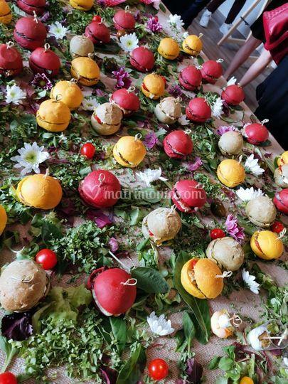 Flower buffet. Miniburger.