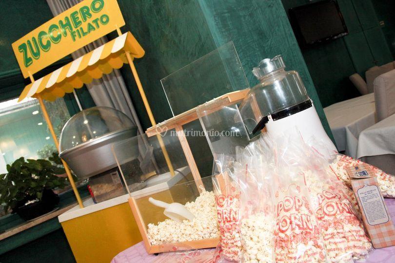 Zucchero filato e pop corn