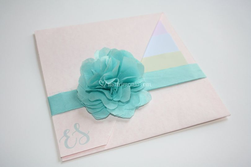Partecipazione +fiore di carta
