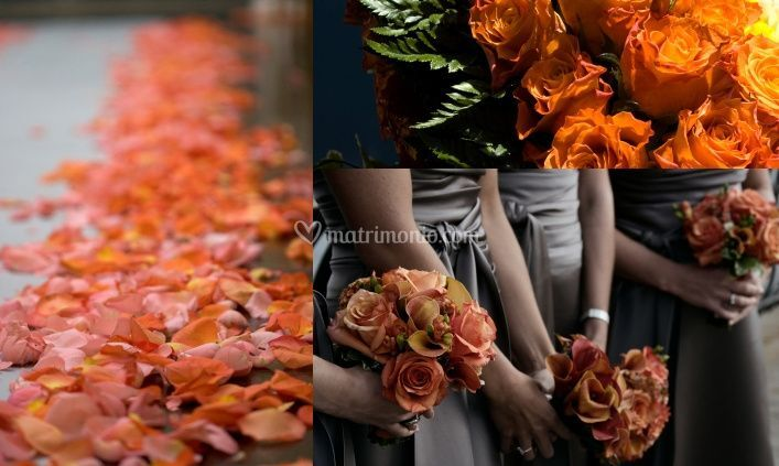 Decorazioni Matrimonio Arancione : Matrimonio marrone e arancione