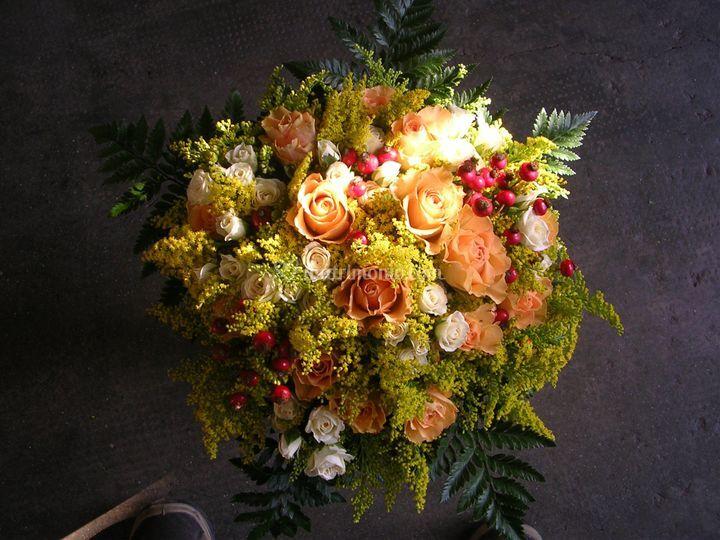 Bouquet rose ram. solidago