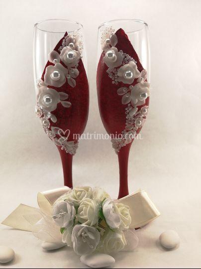 Calici brindisi sposi rosso