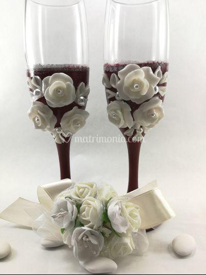 Calici brindisi sposi 3 rose