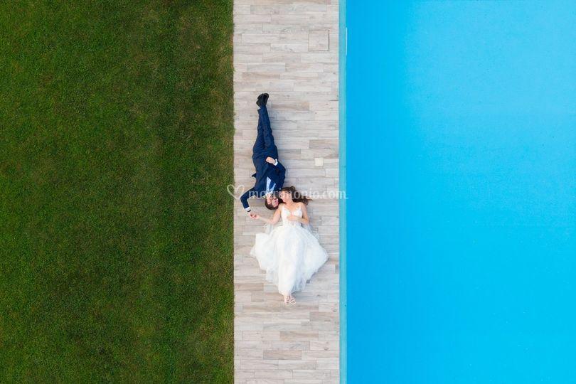 Foto con drone sposi