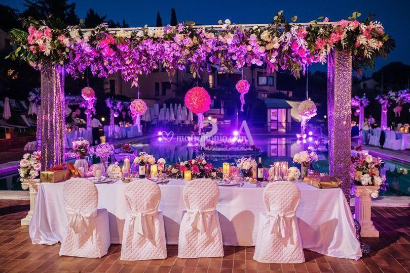 Tavolo sposi piscina Ugolino