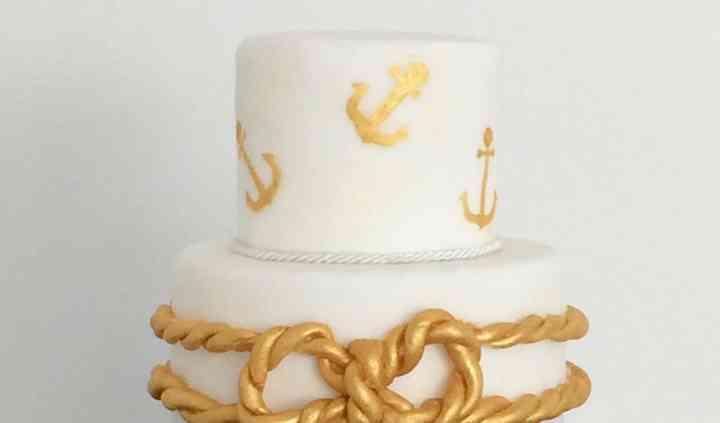 Nautical navy blue&gold cake