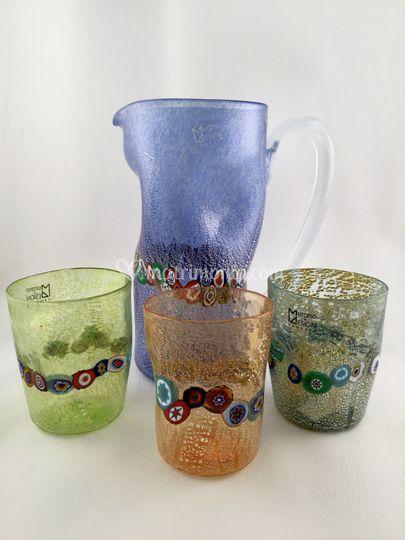 Goti e caraffe vetro di Murano