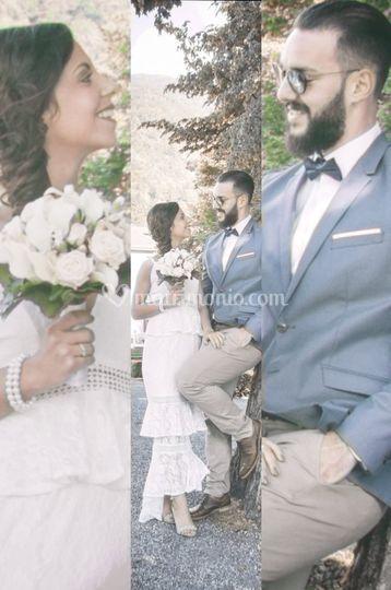 Collage sposi e bouquet