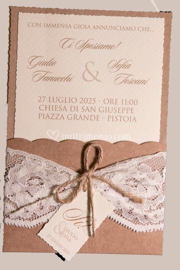 Cartoncino folder con pizzo