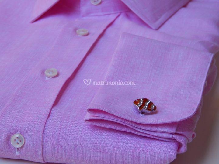 Camicia in lino con gemelli