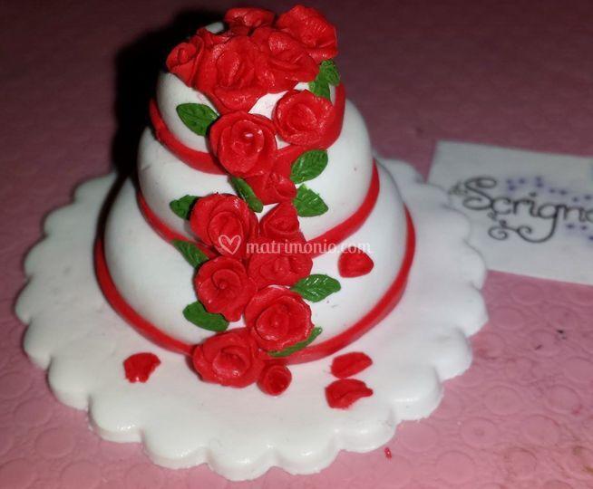 Mini cake con cascata di rose