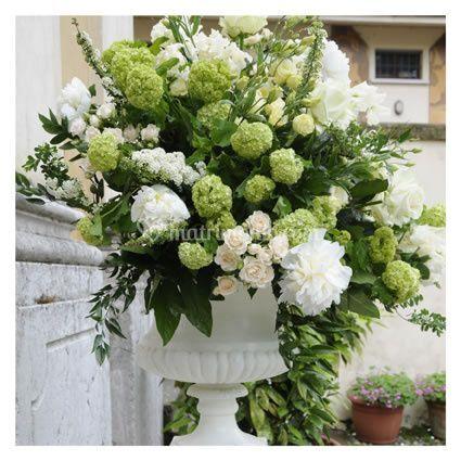 Seasonal flowers white urn