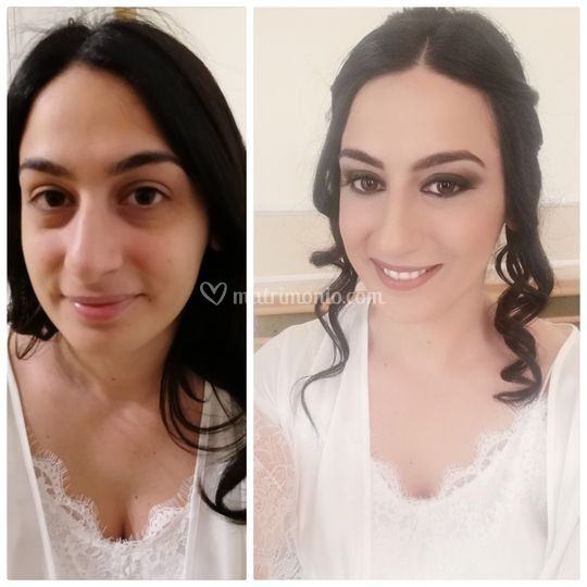 Before and after bride make up