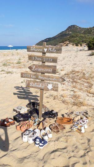 Cartello indicazioni spiaggia