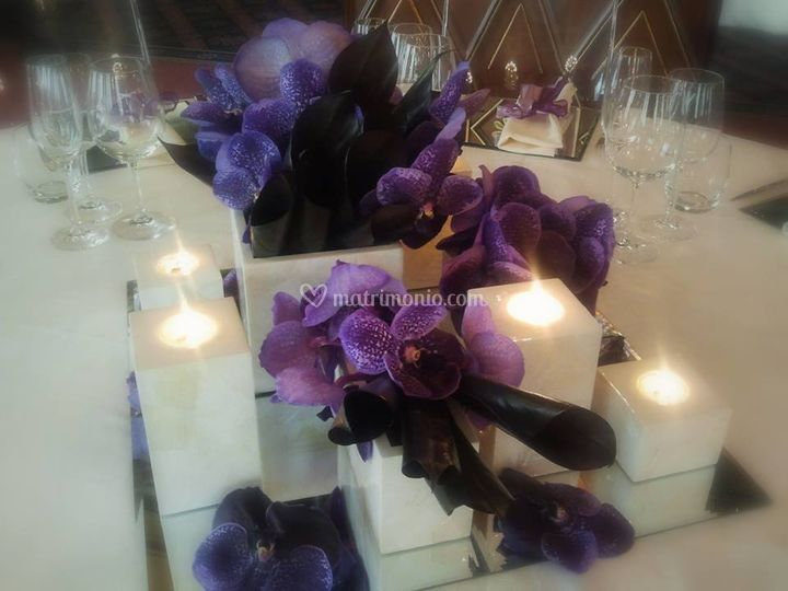 Centrotavola lilla+candele
