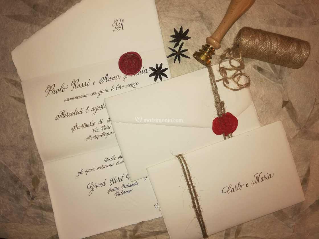 Partecipazioni Matrimonio Carta Amalfi.Partecipazione Carta Amalfi Di Ketty Agnesani Calligrafa Foto 2