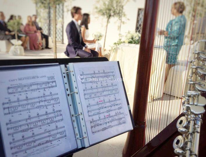 Rito civile, arpa e flauto