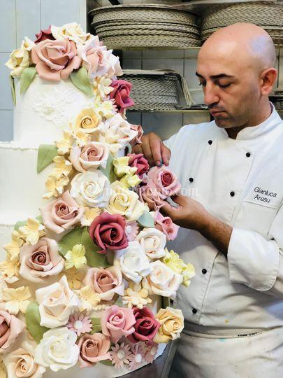 Rose realizzate in zucchero