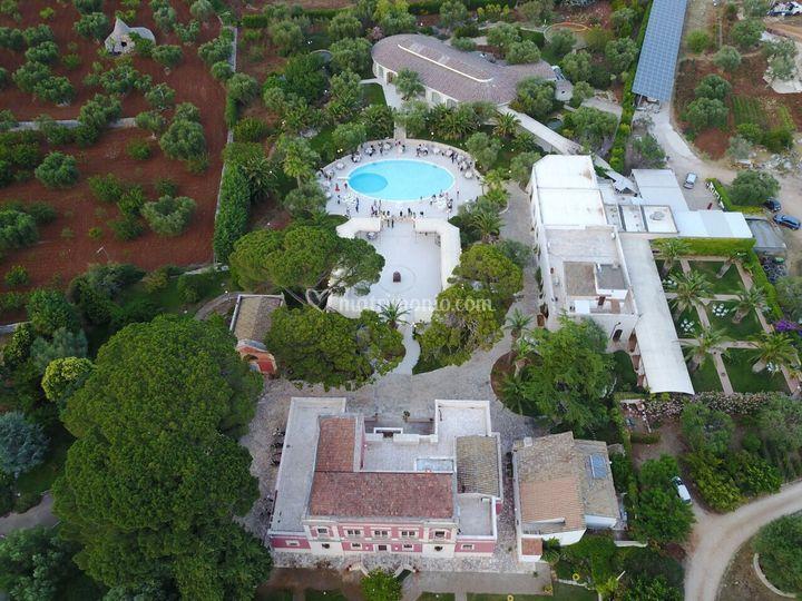 Visuale dall'alto della tenuta