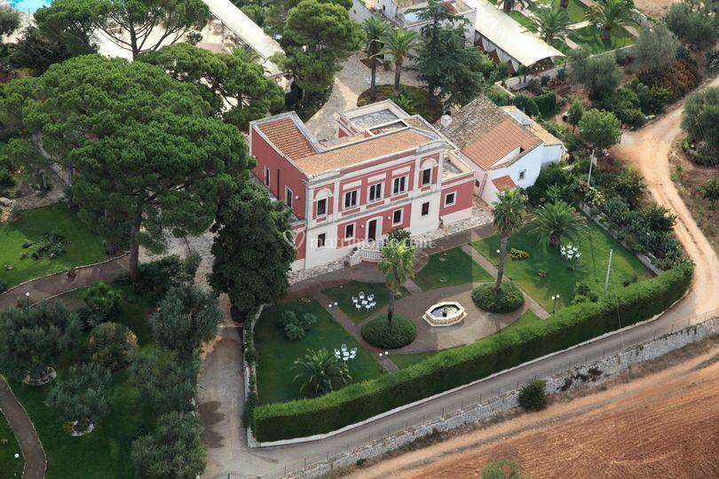 Visuale dall'alto della villa