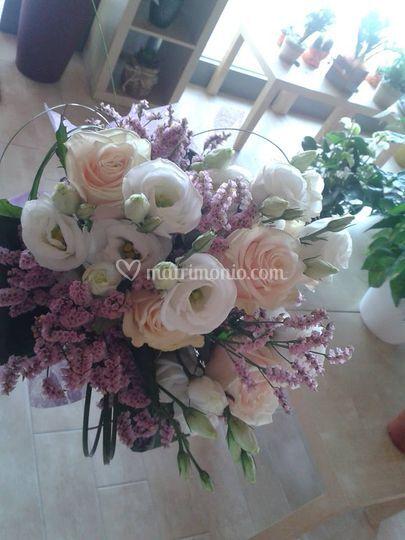 Bouquet bianco/rosa/pesca