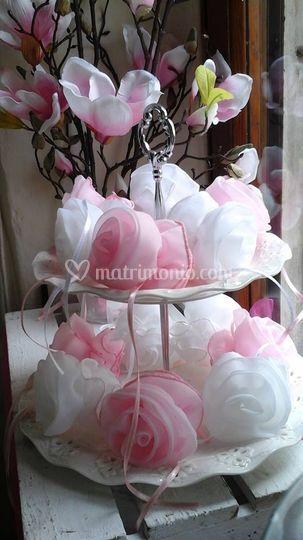 Rose portaconfetti in organza
