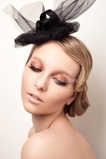 Black tulle hat