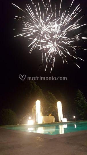 Torta con fuochi d'artificio