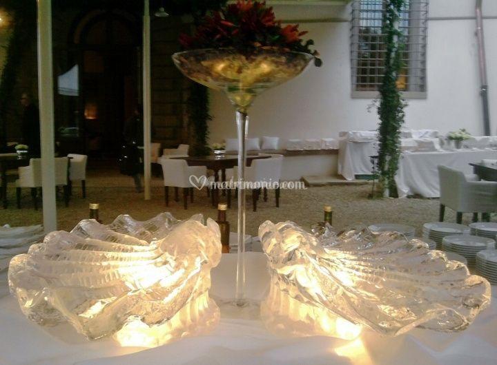 Matrimonio con sculture di ghiaccio