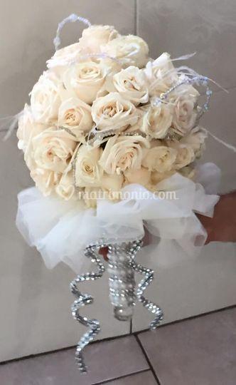 Bouquet con perle e swarowsky