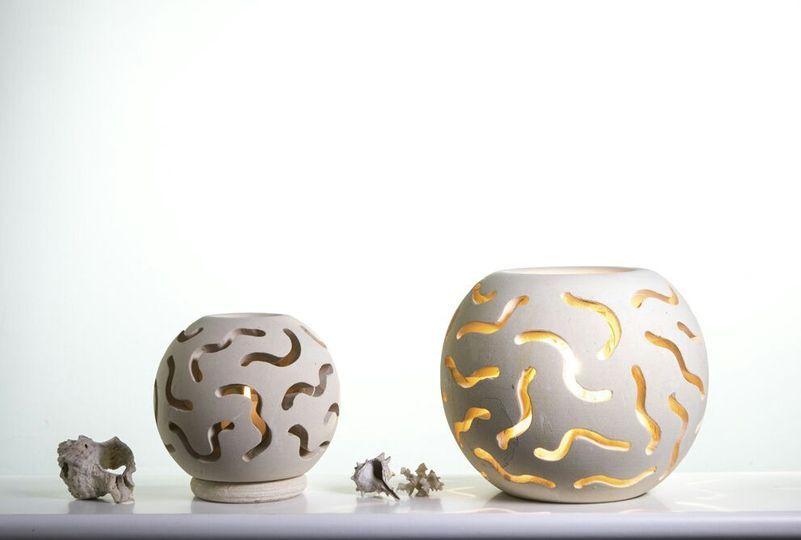 Lampada sfera intarsiata