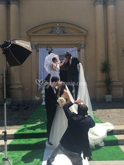 Trampoliere sposo e sposa
