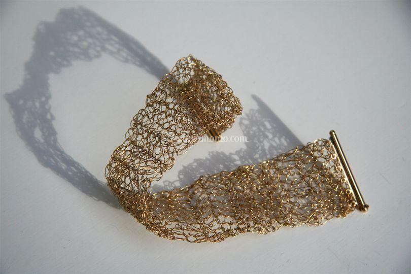 Bracciale oro 750 lineatessuto