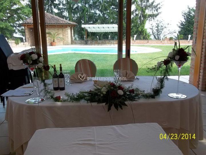 Centrotavola sposi con rose