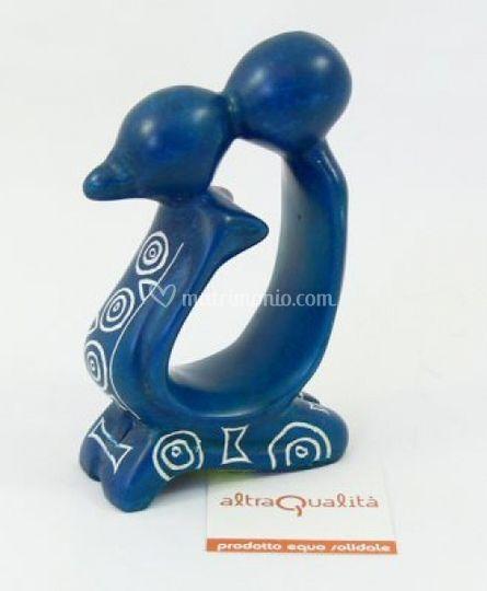 Coppia marmo blu  con decori