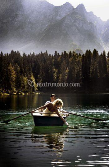 Bride,groom and landscape