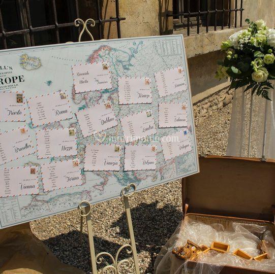 Tableau mariage con cartoline