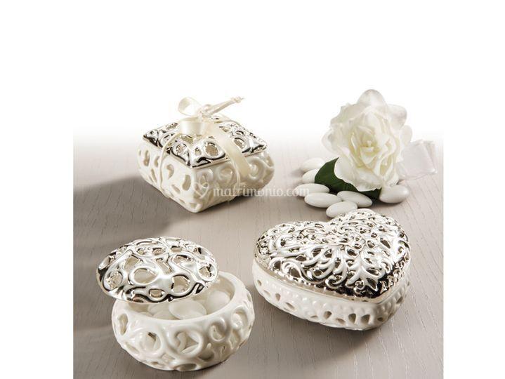 Bomboniere porcellana argento