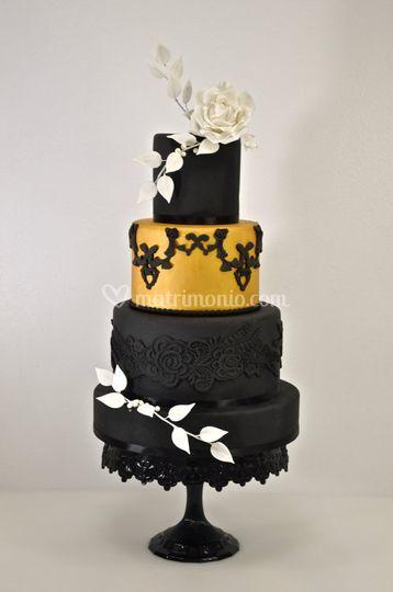 Gold Black Wedding Cake